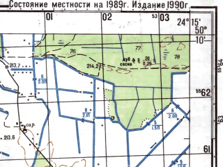 Reduced fragment of topographic map ru--gs--050k--m35-061-3--N050-10_E024-00--N050-00_E024-15; towns and cities Boyanets, Derevnya, Podlesnoye