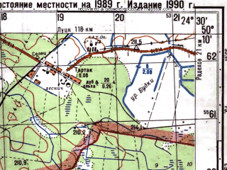 Reduced fragment of topographic map ru--gs--050k--m35-061-4--N050-10_E024-15--N050-00_E024-30; towns and cities Kamenka-bugskaya, Batyatychi, Sokol'ye, Streptov