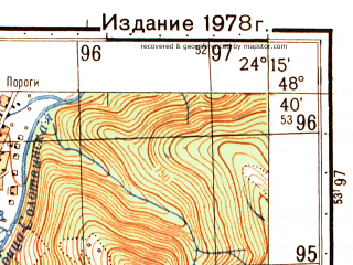 Reduced fragment of topographic map ru--gs--050k--m35-121-1--N048-40_E024-00--N048-30_E024-15