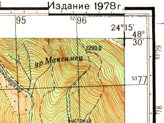 Reduced fragment of topographic map ru--gs--050k--m35-121-3--N048-30_E024-00--N048-20_E024-15; towns and cities Bystritsa