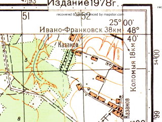 Reduced fragment of topographic map ru--gs--050k--m35-122-2--N048-40_E024-45--N048-30_E025-00; towns and cities Pechenezhin, Rakovchik, Sadzhavka, Sredniy Maydan