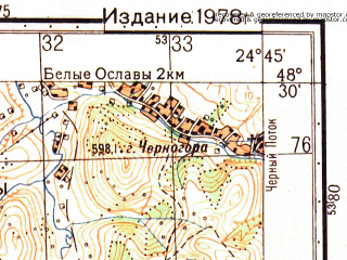 Reduced fragment of topographic map ru--gs--050k--m35-122-3--N048-30_E024-30--N048-20_E024-45; towns and cities Yaremcha, Belyye Oslavy, Chernyye Oslavy, Krementsy