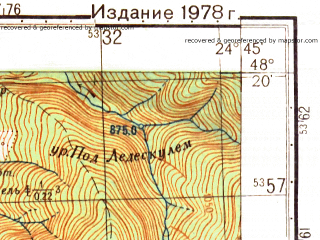 Reduced fragment of topographic map ru--gs--050k--m35-134-1--N048-20_E024-30--N048-10_E024-45; towns and cities Vorokhta