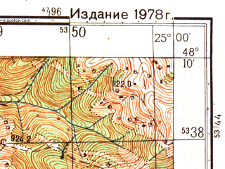 Reduced fragment of topographic map ru--gs--050k--m35-134-4--N048-10_E024-45--N048-00_E025-00; towns and cities Verkhovina, Golovy, Zamagorov