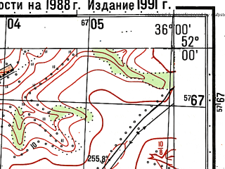 Reduced fragment of topographic map ru--gs--050k--m36-012-2--N052-00_E035-45--N051-50_E036-00