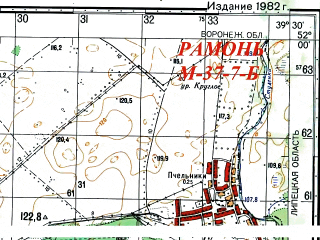 Reduced fragment of topographic map ru--gs--050k--m37-007-2--N052-00_E039-15--N051-50_E039-30; towns and cities Ramon'