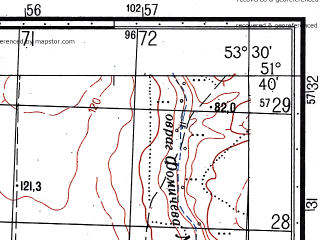 Reduced fragment of topographic map ru--gs--050k--m39-023-2--N051-40_E053-15--N051-30_E053-30; towns and cities Ilek