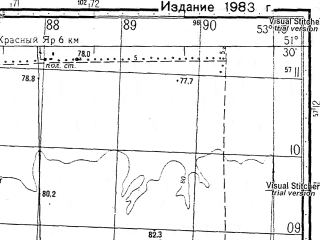 Reduced fragment of topographic map ru--gs--050k--m39-024-3--N051-30_E053-30--N051-20_E053-45; towns and cities Privolnyy