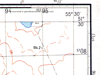 Reduced fragment of topographic map ru--gs--050k--m40-015-4--N051-30_E055-15--N051-20_E055-30