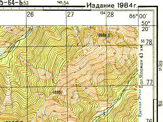 Reduced fragment of topographic map ru--gs--050k--m45-064-2--N050-20_E085-45--N050-10_E086-00; towns and cities Multa