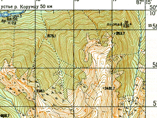 Reduced fragment of topographic map ru--gs--050k--m45-067-3--N050-10_E087-00--N050-00_E087-15