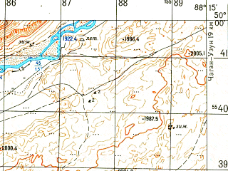 Reduced fragment of topographic map ru--gs--050k--m45-081-1--N050-00_E088-00--N049-50_E088-15; towns and cities Beltir