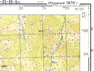 Reduced fragment of topographic map ru--gs--050k--m45-086-2--N049-40_E084-45--N049-30_E085-00