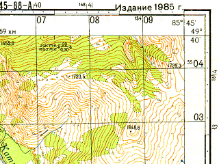 Reduced fragment of topographic map ru--gs--050k--m45-088-1--N049-40_E085-30--N049-30_E085-45