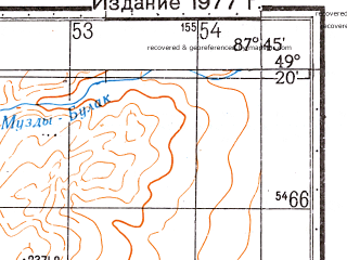 Reduced fragment of topographic map ru--gs--050k--m45-104-1--N049-20_E087-30--N049-10_E087-45