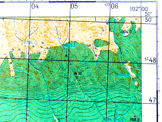 Reduced fragment of topographic map ru--gs--050k--m47-012-4--N051-50_E101-45--N051-40_E102-00
