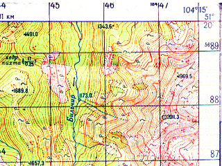 Reduced fragment of topographic map ru--gs--050k--m48-029-1--N051-20_E104-00--N051-10_E104-15