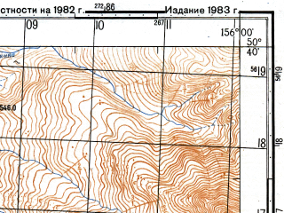 Reduced fragment of topographic map ru--gs--050k--m56-060-2--N050-40_E155-45--N050-30_E156-00