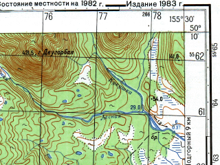 Reduced fragment of topographic map ru--gs--050k--m56-071-4--N050-10_E155-15--N050-00_E155-30; towns and cities Kharitonovka