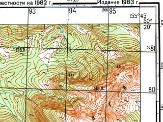 Reduced fragment of topographic map ru--gs--050k--m56-072-1--N050-20_E155-30--N050-10_E155-45; towns and cities Kitovyy, Okeanskoye