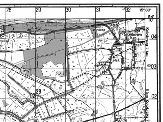 Reduced fragment of topographic map ru--gs--050k--n33-067-4--N054-10_E015-15--N054-00_E015-30; towns and cities Trzebiatow