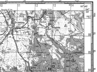 Reduced fragment of topographic map ru--gs--050k--n33-082-1--N054-00_E016-30--N053-50_E016-45; towns and cities Bobolice