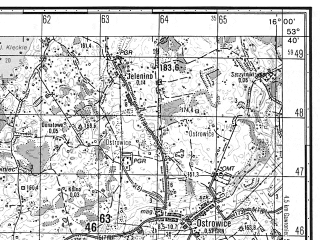 Reduced fragment of topographic map ru--gs--050k--n33-092-2--N053-40_E015-45--N053-30_E016-00; towns and cities Drawsko Pomorskie