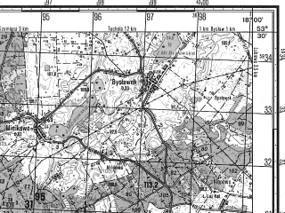 Reduced fragment of topographic map ru--gs--050k--n33-096-4--N053-30_E017-45--N053-20_E018-00; towns and cities Pruszcz