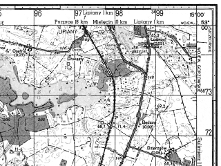 Reduced fragment of topographic map ru--gs--050k--n33-114-2--N053-00_E014-45--N052-50_E015-00; towns and cities Mysliborz