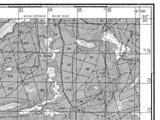 Reduced fragment of topographic map ru--gs--050k--n33-116-2--N053-00_E015-45--N052-50_E016-00; towns and cities Drezdenko, Dobiegniew