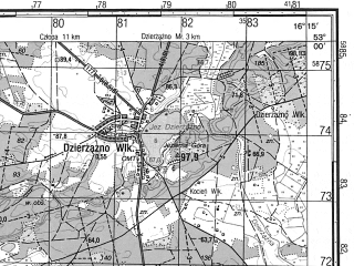 Reduced fragment of topographic map ru--gs--050k--n33-117-1--N053-00_E016-00--N052-50_E016-15; towns and cities Krzyz