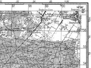 Reduced fragment of topographic map ru--gs--050k--n33-117-4--N052-50_E016-15--N052-40_E016-30; towns and cities Wronki