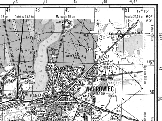 Reduced fragment of topographic map ru--gs--050k--n33-119-3--N052-50_E017-00--N052-40_E017-15; towns and cities Wagrowiec, Rogogzno
