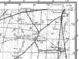 Reduced fragment of topographic map ru--gs--050k--n33-119-4--N052-50_E017-15--N052-40_E017-30; towns and cities Janowiec Wielkopolski