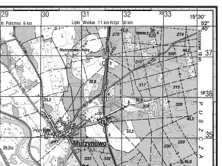 Reduced fragment of topographic map ru--gs--050k--n33-127-2--N052-40_E015-15--N052-30_E015-30; towns and cities Skwierzyna
