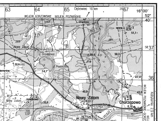 Reduced fragment of topographic map ru--gs--050k--n33-128-2--N052-40_E015-45--N052-30_E016-00; towns and cities Miedzychod