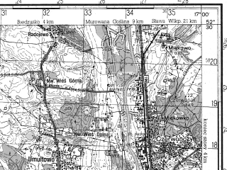 Reduced fragment of topographic map ru--gs--050k--n33-130-4--N052-30_E016-45--N052-20_E017-00; towns and cities Poznan, Lubon
