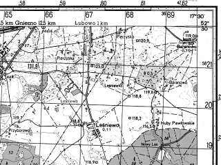 Reduced fragment of topographic map ru--gs--050k--n33-131-4--N052-30_E017-15--N052-20_E017-30; towns and cities Pobiedziska