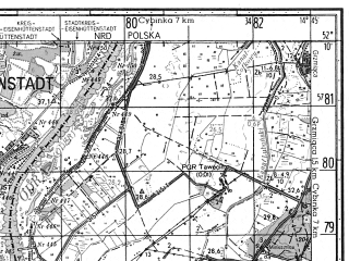 Reduced fragment of topographic map ru--gs--050k--n33-138-3--N052-10_E014-30--N052-00_E014-45; towns and cities Eisenhuttenstadt