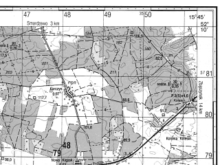Reduced fragment of topographic map ru--gs--050k--n33-140-3--N052-10_E015-30--N052-00_E015-45; towns and cities Sulechow