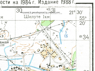 Reduced fragment of topographic map ru--gs--050k--n34-031-2--N055-20_E021-15--N055-10_E021-30; towns and cities Mysovka, Rusne