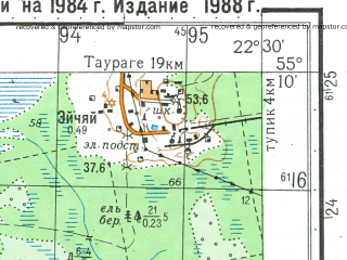 Reduced fragment of topographic map ru--gs--050k--n34-033-4--N055-10_E022-15--N055-00_E022-30; towns and cities Viesvile