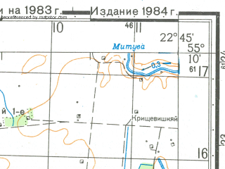 Reduced fragment of topographic map ru--gs--050k--n34-034-3--N055-10_E022-30--N055-00_E022-45; towns and cities Smalininkay