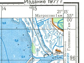 Reduced fragment of topographic map ru--gs--050k--n34-043-1--N055-00_E021-00--N054-50_E021-15; towns and cities Polessk