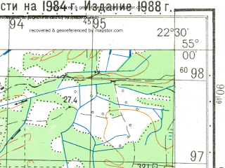Reduced fragment of topographic map ru--gs--050k--n34-045-2--N055-00_E022-15--N054-50_E022-30; towns and cities Krasnoznamensk