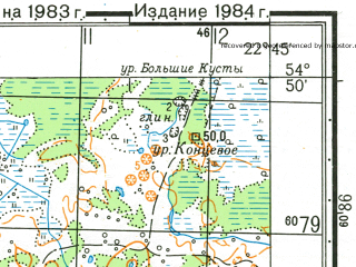 Reduced fragment of topographic map ru--gs--050k--n34-046-3--N054-50_E022-30--N054-40_E022-45; towns and cities Dobrovolsk