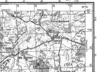 Reduced fragment of topographic map ru--gs--050k--n34-049-3--N054-30_E018-00--N054-20_E018-15; towns and cities Lebno