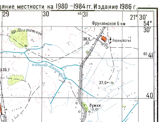 Reduced fragment of topographic map ru--gs--050k--n34-055-4--N054-30_E021-15--N054-20_E021-30; towns and cities Zheleznodorozhnyy