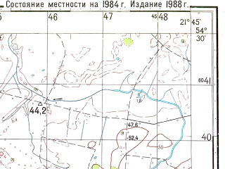 Reduced fragment of topographic map ru--gs--050k--n34-056-3--N054-30_E021-30--N054-20_E021-45; towns and cities Perty