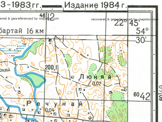 Reduced fragment of topographic map ru--gs--050k--n34-058-3--N054-30_E022-30--N054-20_E022-45; towns and cities Nevskoye
